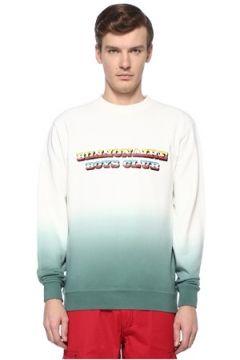 Billionaire Boys Club Erkek Dip Dye Beyaz Renkli Logolu Basic Sweatshirt Yeşil L EU(108579537)
