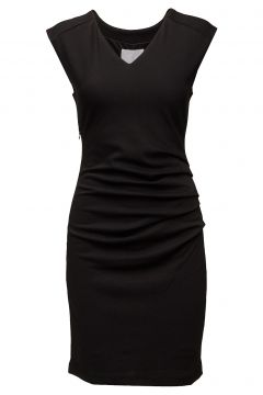 India V-Neck Dress Kleid Knielang Schwarz KAFFE(108838821)