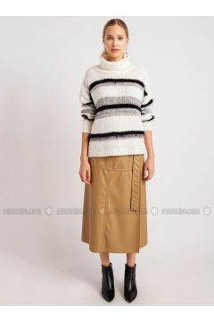 Ecru - Stripe - Polo neck - Acrylic -- Knitwear - NG Style(110341266)