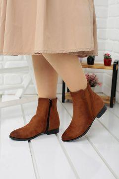 Ayakland Kadın Kahverengi 8284-2012 Günlük Termo Fermuarlı Süet Bot Ayakkabı(121599695)