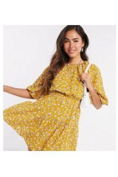 Fashion Union - Vestito corto giallo a pois e a fiori con maniche a sbuffo(120301840)