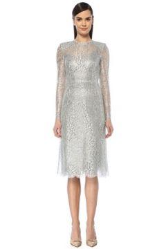 Dolce&Gabbana Kadın Silver Omzu Vatkalı Uzun Kol Midi Dantel Elbise Gri 42 IT(108579553)