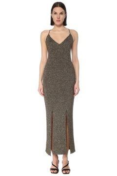 Ganni Kadın Kahverengi Sırt Detaylı Simli Maksi Triko Elbise S EU(127770403)