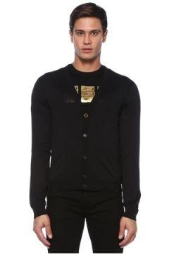 Versace Erkek Siyah V Yaka İpek Triko Hırka 54 IT(120885129)