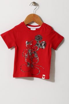 Mammaramma Erkek Mickey Mouse Baskılı Kırmızı T-Shırt(113968209)
