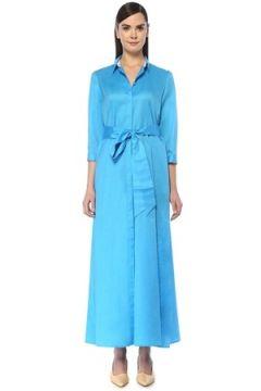 Kiton Kadın Mavi İngiliz Yaka Beli Kuşaklı Maksi Elbise 40 IT(108873788)
