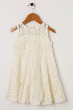 Koton Kız Çocuk Dantelli Ekru Elbise(113964120)