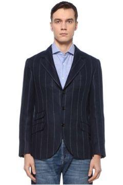 Brunello Cucinelli Erkek Lacivert Kelebek Yaka Çizgili Keten Ceket 50 IT(126848138)