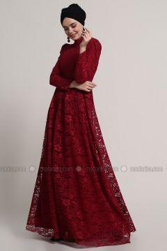 Maroon - Fully Lined - Crew neck - Muslim Evening Dress - Refka(110322495)