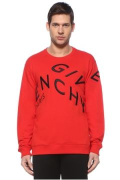 Givenchy Erkek Kırmızı Bisiklet Yaka Logo Nakışlı Sweatshirt L EU(127545850)