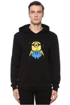 8-Bit by Mhrs Erkek Siyah Kapüşonlu 3D Figür Baskılı Sweatshirt S EU(121912327)