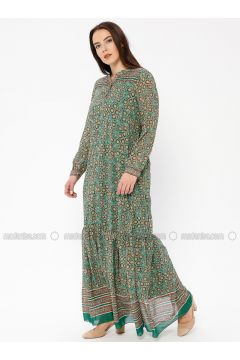 Green - Multi - Crew neck - Fully Lined - Dresses - Le Mirage(110338935)