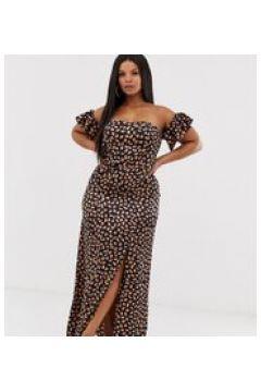 Koco & K Plus - Schulterfreies Midaxi-Kleid mit Schlitz am Oberschenkel und gesprenkeltem Print - Mehrfarbig(94962277)