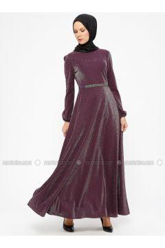 Purple - Unlined - Crew neck - Muslim Evening Dress - Laruj(110327858)