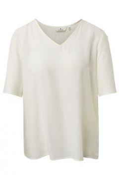 TOM TAILOR Damen Kurzarm-Bluse mit Knopf-Details, weiß, unifarben, Gr.36(108175649)