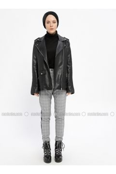 Black - Gray - Plaid - Viscose - Pants - Meys(110329238)