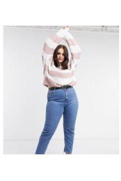 In The Style Plus x Billie Faiers - Maglione oversize lavorato con righe a contrasto rosa(122966155)