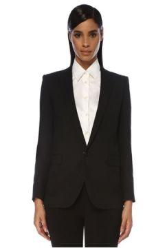 Saint Laurent Kadın Siyah Tek Düğmeli Yün Blazer Ceket 36 IT(120138965)