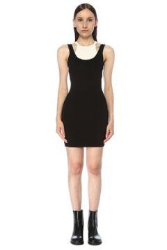 T by Alexander Wang Kadın Siyah Beyaz Çift Yakalı Sırt Dekolteli Mini Elbise M EU(117384911)