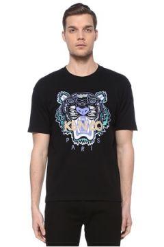Kenzo Erkek Siyah Kaplan Detaylı Logolu Basic T-shirt M EU(116665610)