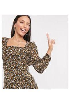 Fashion Union Tall - Vestito corto con maniche a sbuffo e stampa a fiorellini-Nero(120330509)