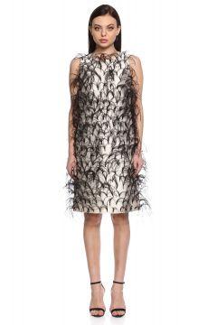 Michael Kors Collection-Michael Kors Collection Tüylü Kolsuz Siyah Beyaz Elbise(115706944)