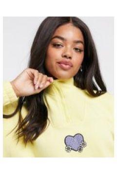 Daisy Street - Felpa oversize con zip corta con applicazione a cuore in color pastello-Giallo(122472573)