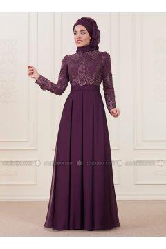 Purple - Fully Lined - Crew neck - Muslim Evening Dress - An-Nahar(110333440)