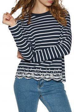 T-Shirt à Manche Longue Femme Superdry Summer Schiffli - Navy Stripe(111331442)