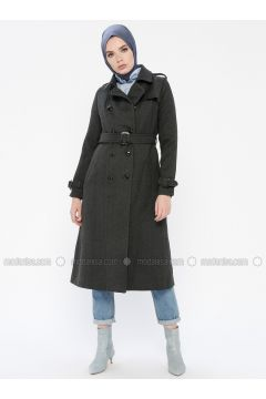 Anthracite - Fully Lined - Point Collar - Coat - MOODBASİC(110339166)