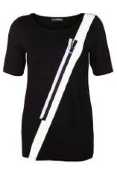 Tunika mit schräger Applikation Doris Streich schwarz/weiß(121494822)
