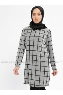 Gray - Checkered - Point Collar - Tunic - HANIMŞAH(110328823)