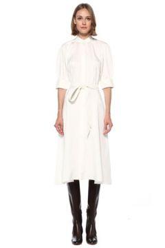 Polo Ralph Lauren Kadın Beyaz Beli Kuşak Detaylı Midi İpek Elbise Bej 2 US(122583534)