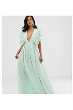 True Decadence Tall Premium - Vestito lungo scollo profondo menta tenue con dettaglio sulla spalla-Verde(124802230)