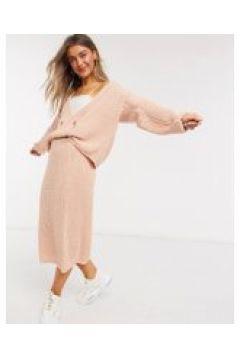 In The Style x Lorna Luxe - Copenhagen - Cardigan doppiopetto in maglia cipria-Rosa(120938511)