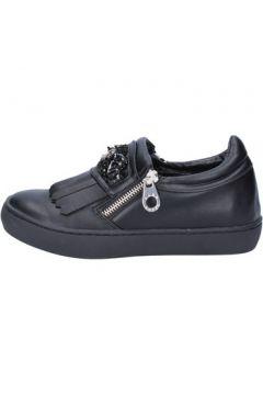 Chaussures Sara Lopez slip on mocassins noir cuir BX698(115442622)