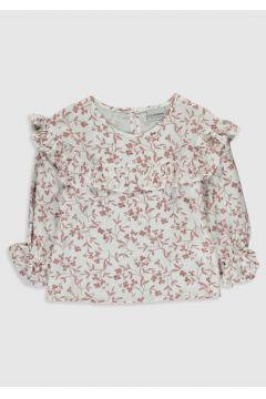 Çocuk Kız Çocuk Çiçekli Fırfırlı Viskon Bluz(110909537)