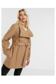 French Connection - Cappotto con scollo ad imbuto e cintura in lana color cammello-Marrone(121504832)