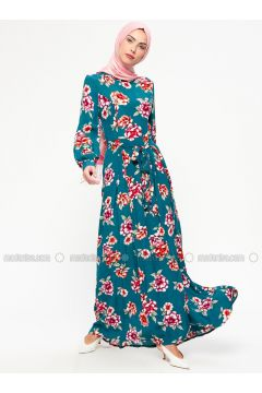 Petrol - Floral - Crew neck - Unlined - Viscose - Dresses - MARKESRA(110314797)