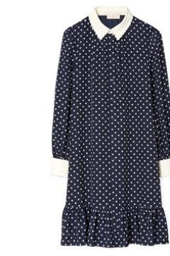 Tory Burch Kadın Cora Lacivert Puantiyeli Mini Twill İpek Elbise 8 US(113466326)