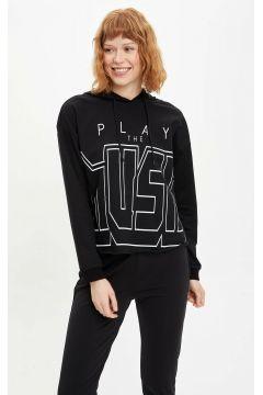 DeFacto Kadın Yazı Baskılı Kapüşonlu Sporcu Sweatshirt(108642434)