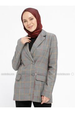 Gray - Beige - Plaid - Fully Lined - Shawl Collar - Jacket - Fashion Light(110332405)