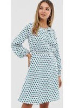 Closet - Kleid mit vollen Ärmeln und geteiltem Ausschnitt - Weiß(86711868)