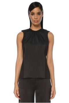 Victoria by Beckham Kadın Siyah Büzgülü Drape Detaylı Kolsuz Bluz 0 US(120885366)