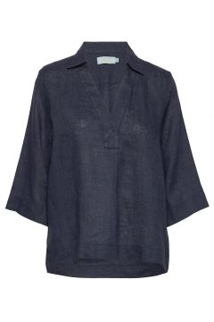 Marseille Linen Blouse Blouses Short-sleeved Blau MORRIS LADY(114154349)