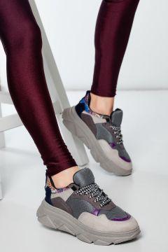 HAYATINIZI KOLAYLAŞTIRIN Kadın Gri Yüksek Taban Yürüyüş Ayakkabısı(118648231)