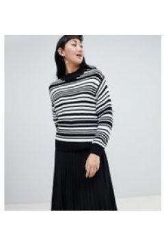 Monki - Gestreifter Pullover in Schwarz und Weiß mit Rundhalsausschnitt - Schwarz(83089481)