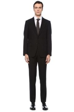 Tom Ford Erkek Siyah Çizgili Yün Takım Elbise 54 IT(125279264)