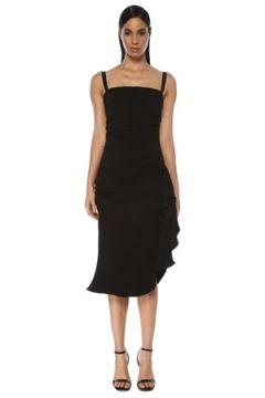 Dolce&Gabbana Kadın Siyah Kare Yaka Drapeli Midi Kokteyl Elbise 38 IT(117771975)