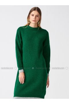 Green - Gray - Crew neck - Unlined -- Dresses - Dilvin(110327593)